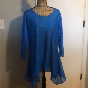 Lined shark bite tunic with sheer sleeves